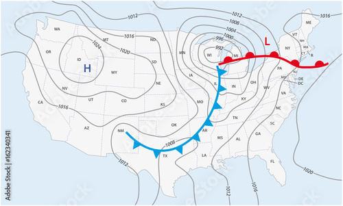 Imaginary weather map of the United States of America – kaufen Sie ...