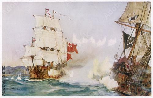 Crime - Pirates - Roberts. Date: 1722 Wallpaper Mural