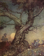 Fairy Folk By An Old Gnarled Tree - Arthur Rackham