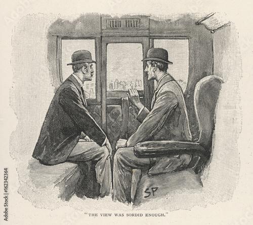 Holmes - Watson - Train - 19th century. Date: 1893 Canvas Print