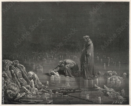 Canvas Print Dante - Virgil on Ice. Date: 1307-21