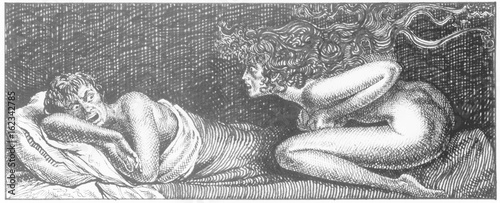 Leinwand Poster Succubus attacking a sleeping man. Date: Not known