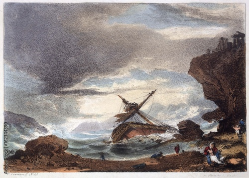 Shipwreck. Date: 1827 Wallpaper Mural
