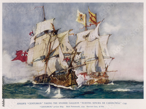 Anson's Naval Victory. Date: 1743 Canvas Print