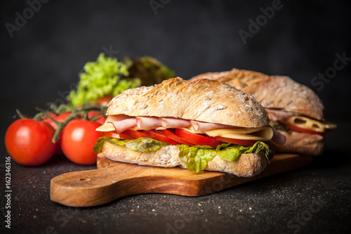 Foto op Canvas Snack Delicious ciabatta sandwich