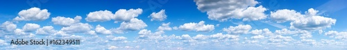 Panorama of the blue sky with clouds