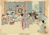 Geishas dancing the Kappore. Date: 1899