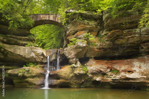 Waterfall and bridge in Hocking Hills State Park, Ohio, USA
