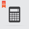 Calculator icon in flat style isolated on grey background.