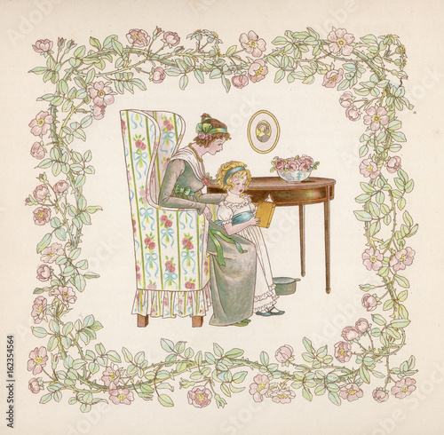 Girl Reads Aloud to Mama. Date: late 19th century Canvas Print