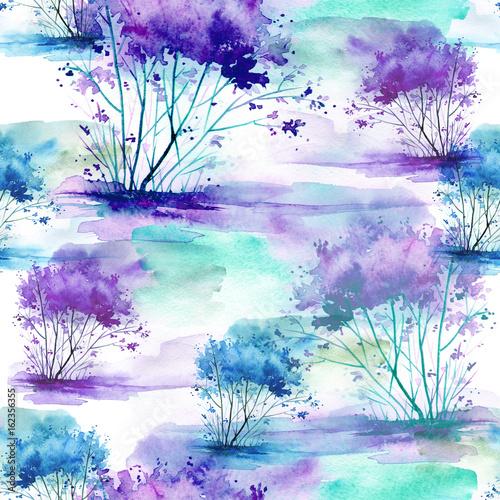 akwarela-bezszwowe-wzor-tlo-z-rocznika-wzor-blekitny-purpurowy-krzak-drzewo-piekny-krajobraz-na-bialym-tle-stylowa-ilustracja-moda
