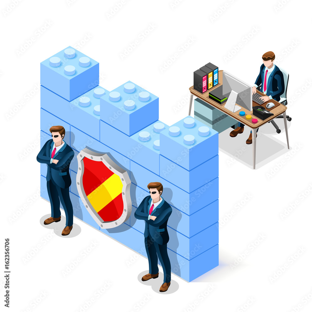 Fototapeta Network security concept with firewall blocks cyber attack flat isometric vector illustration.