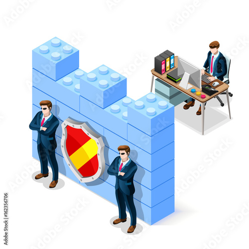 Fotografía  Network security concept with firewall blocks cyber attack flat isometric vector illustration
