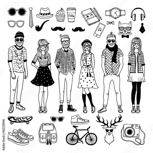 Leinwand Poster Funny hipster characters with funky fashioned elements isolate on white