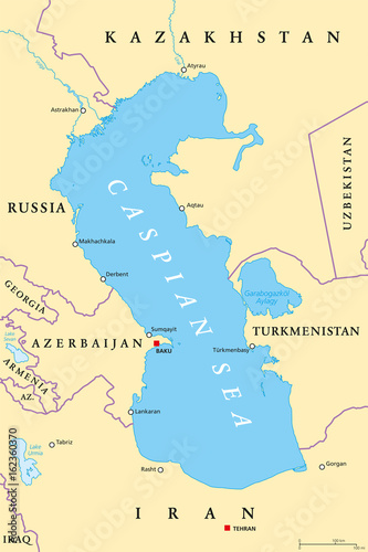 Caspian Sea region political map with most important cities, borders ...