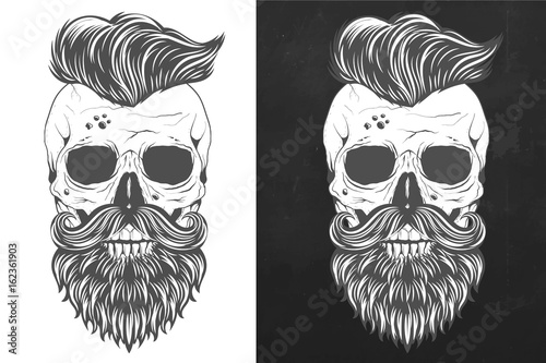 Fotografiet Retro skull with wings in vintage style vector