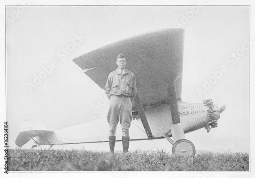 Obraz Lindbergh and Plane. Date: 1902 - 1974 - fototapety do salonu