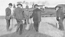 Water Dowser And Steam Train  1907.. Date: 1907