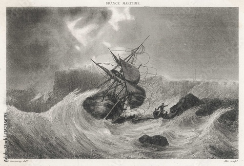 Photo sur Toile Naufrage Shipwreck - Cherbourg. Date: 17 th Century
