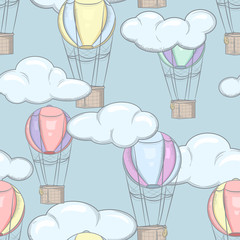 Tapeta Seamless pattern with balloons and clouds