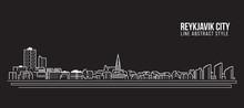 Cityscape Building Line Art Vector Illustration Design - Reykjavik City