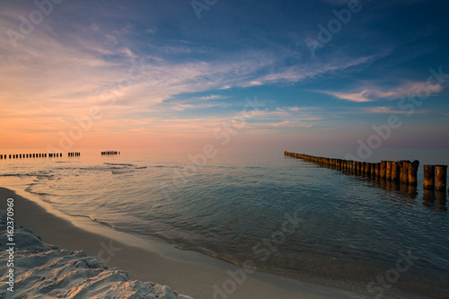 Canvas Prints Inspirational message Sunset on the beach on the Baltic Sea