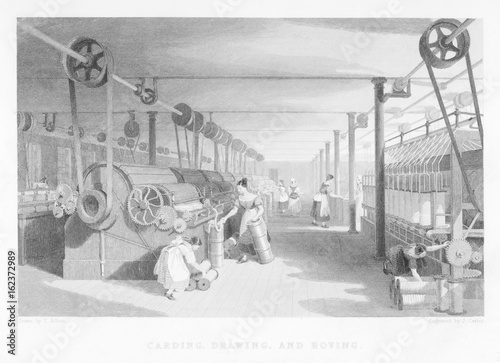 Obraz na płótnie Cotton Carding Machinery. Date: 1835
