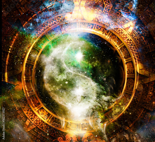 Yin Yang Symbol in maya calendar. Cosmic space background. Canvas Print