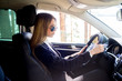 Girl driving a car