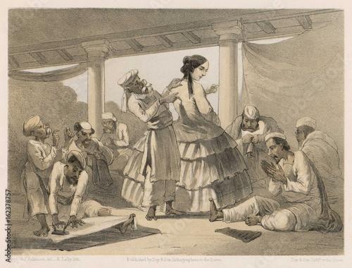 Pinturas sobre lienzo  Dressmakers measure a lady in India  British raj. Date: 1860
