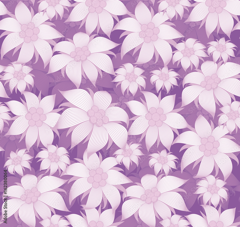 Seamless Floral Pattern On Purple Background Purple Flowers Of