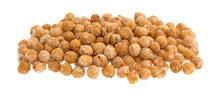 Pile Of Honey Roasted Chickpeas Isolated On A White Background.