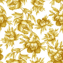 Panel Szklany Podświetlane Peonie Vintage floral seamless yellow monochrome pattern with flowering peonies, on white background. Watercolor hand drawn painting illustration. Isolated. Design for fabric, wrap paper or wallpaper.