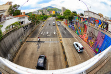 Fisheye View Of A Highway In Cali, Colombia.
