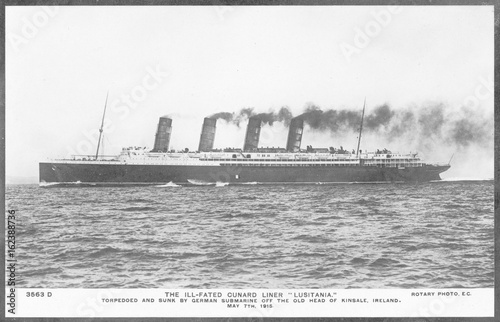 Photo  Lusitania in 1908. Date: Launched 1906  sunk 1915