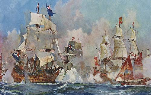 Naval Battle 1704. Date: 24 August 1704 Fototapeta