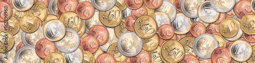 Fototapeta panorama banner of euro coins currency finance background / Euro münzen hintergrund finanzen obraz