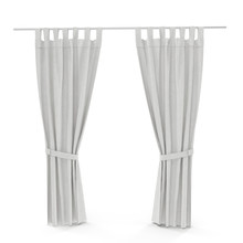 Classic Warm White Curtain. Front View. Isolated On White. 3D Illustration. Include Path.