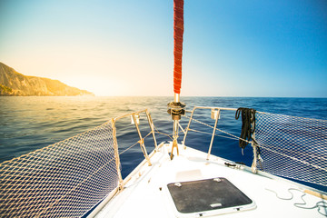 Fototapeta na wymiar Sailing yacht in the sea. Summer travel vacation.