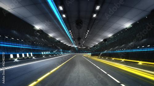 Plakat pusty tunel autostrady miejskiej z reflektorami