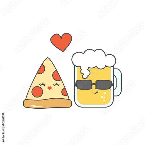 cute cartoon pizza and glass of beer in love funny vector illustration