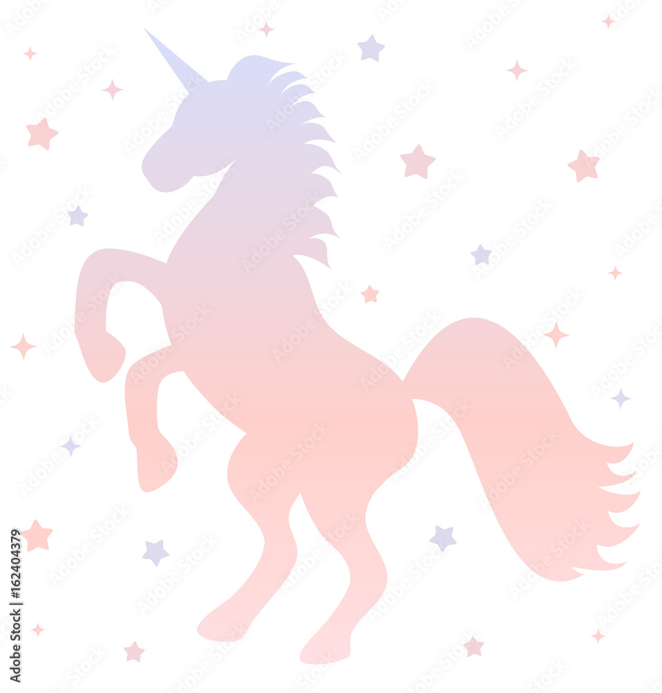 cute gradient unicorn silhouette with stars on white background illustration