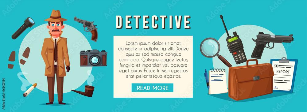 Fototapeta Funny detective character. Cartoon vector illustration