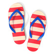 canvas print picture - Red and off-white striped pattern flip flops - top view