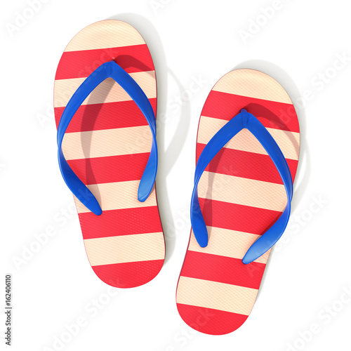 Red and off-white striped pattern flip flops - top view