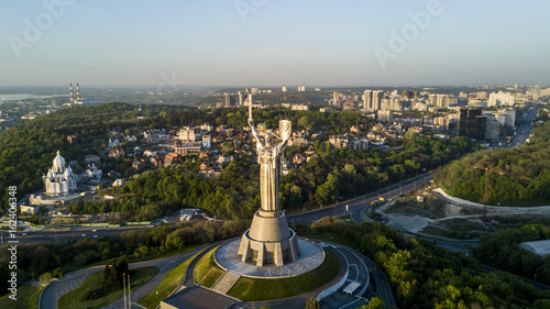 Photo Stands Kiev Aerial view of Mother Motherland statue in Kyiv, Ukraine