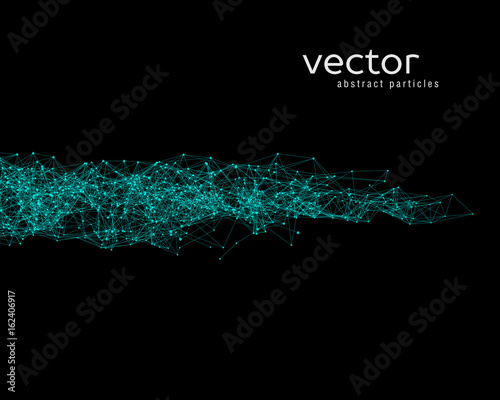 Staande foto Abstract wave Vector green abstract particles.