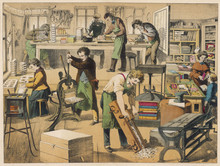 Bookbinding Workshop. Date: 1875