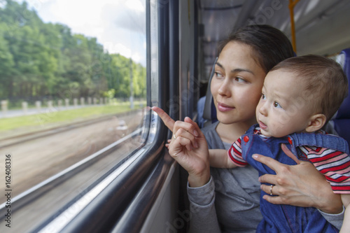 Fényképezés  Mother and her son have a journey by train