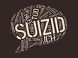 SUIZID - Bilder mit Wörtern aus dem Bereich Suizid, Wortwolke, Würfel, Buchstabe, Bild, Illustration